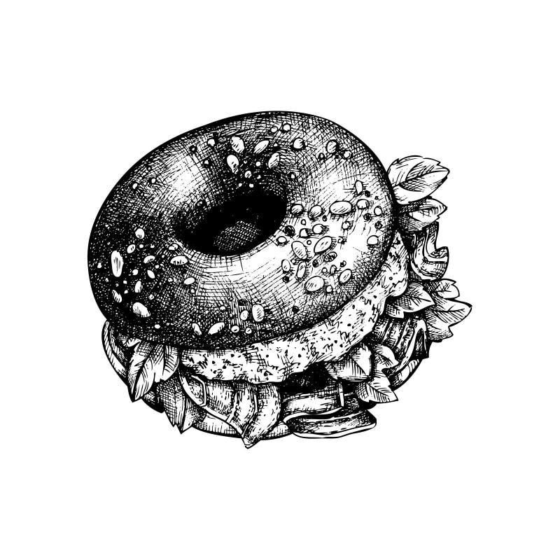 Skissar den utdragna bageln för handen Illustrationer för brödproduktvektor Snabbmatdesignmall vektor illustrationer