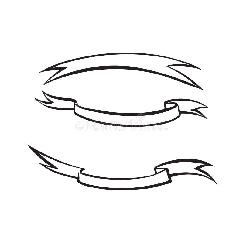 Skissar den utdragna bandöversikten för handen Teckning f?r f?rgpulver f?r vektortappningsvart som isoleras p? vit bakgrund Grafi stock illustrationer