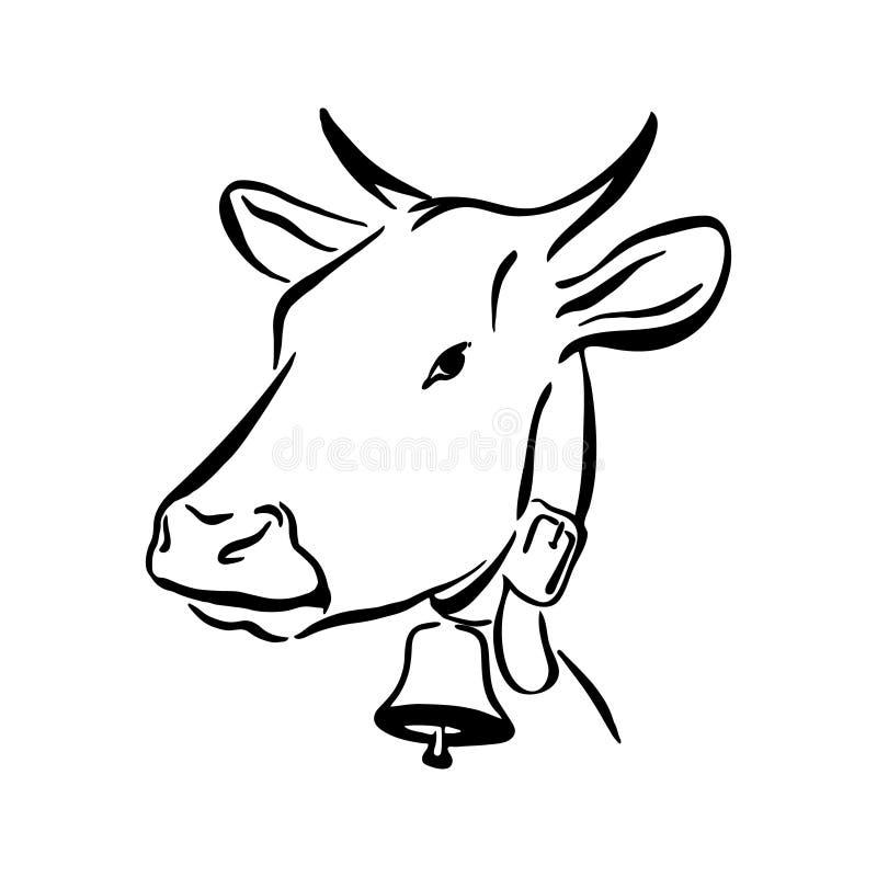 Skissar den utdragna kon för handen illustrationen Djur för lantgård för teckning för vektorsvartfärgpulver, översiktskontur som  stock illustrationer