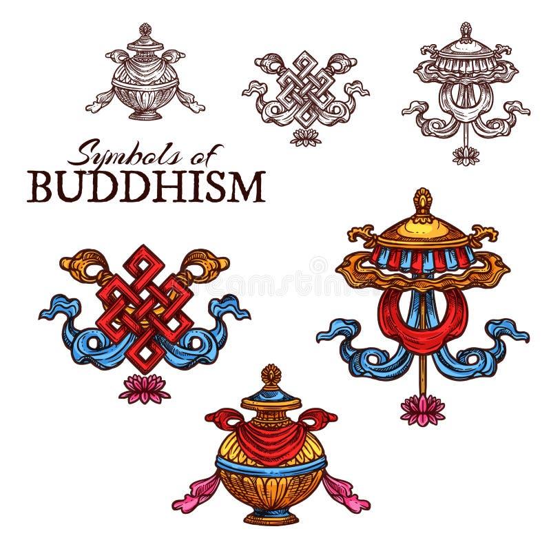 Skissar det lovande symbolet för buddismreligionen vektor illustrationer