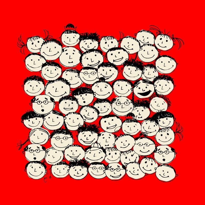 skissar det roliga folket för folkmassadesign ditt vektor illustrationer