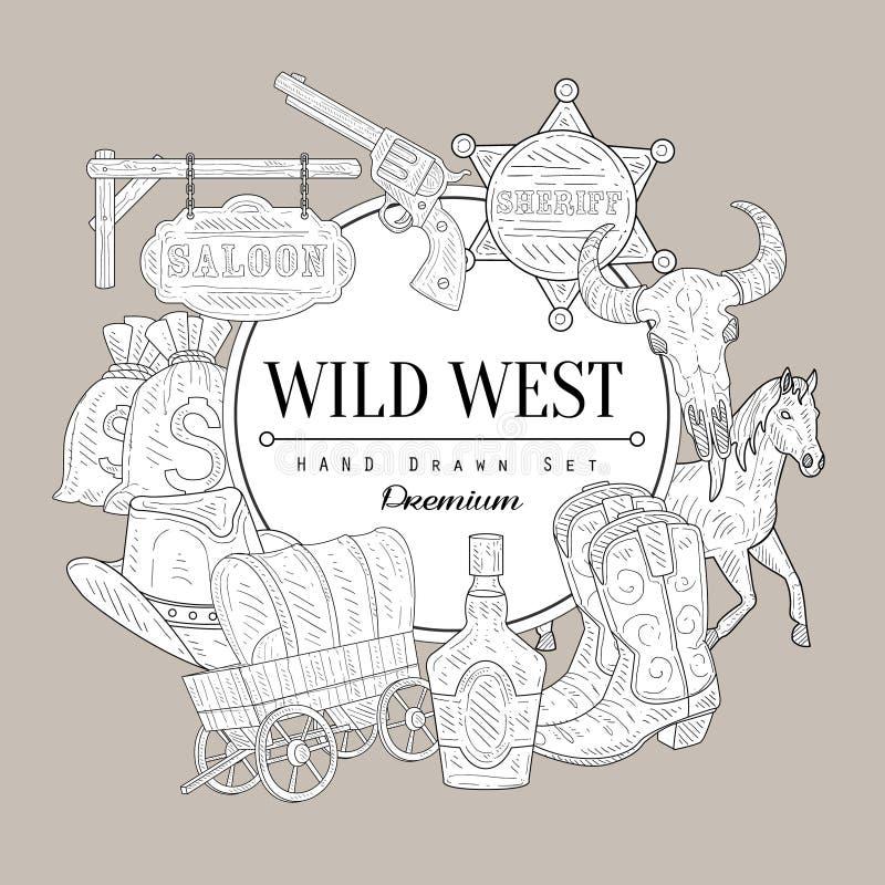 Skissar fastställd tappning för vilda västern vektor illustrationer