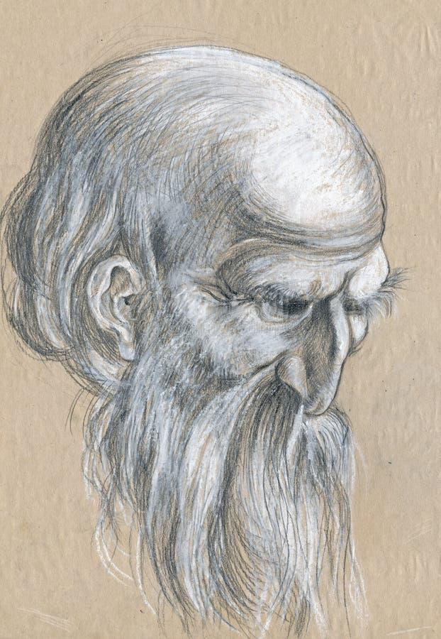 skissar gammal tecknande man 2 vektor illustrationer