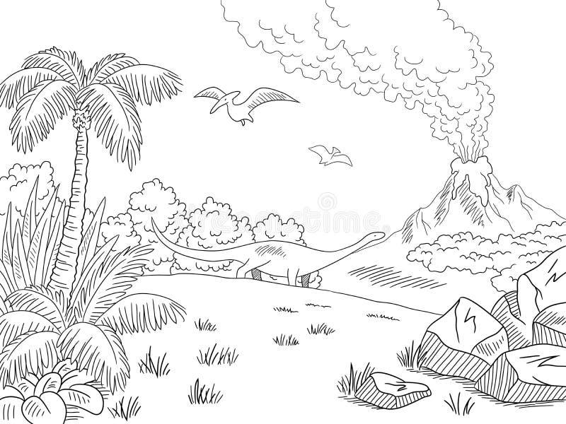 Skissar grafisk svart vit för dinosaurielandskapet illustrationvektorn royaltyfri illustrationer