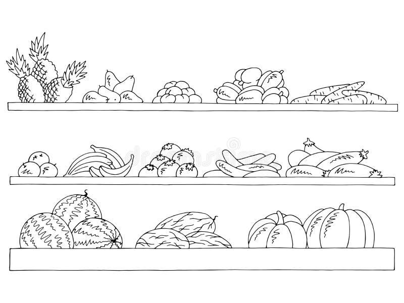 Skissar grafiska isolerade svarta vita för hyllauppsättning vektorn för frukt- och grönsaklivsmedelsbutikillustrationen royaltyfri illustrationer