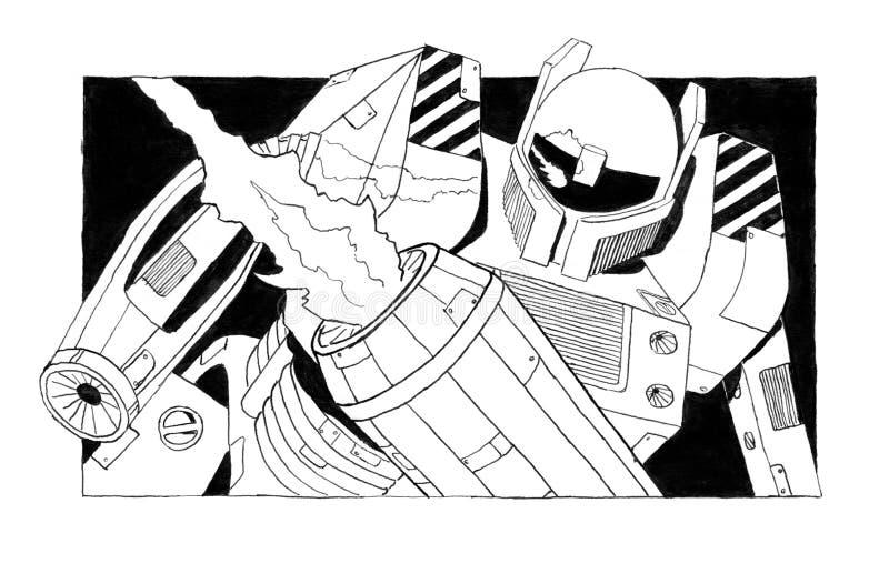 Skissar grovt färgpulver för svart Grunge av farlig beväpnad robotsoldat royaltyfri illustrationer