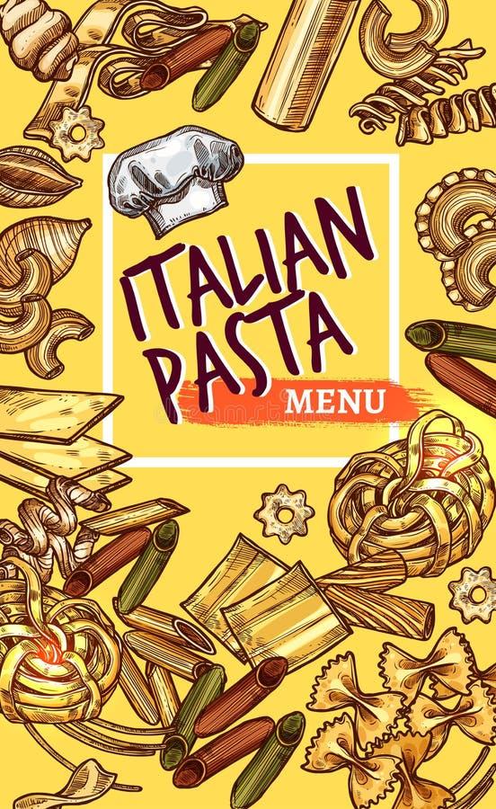 Skissar italiensk pasta för vektorn affischrestaurangmenyn royaltyfri illustrationer