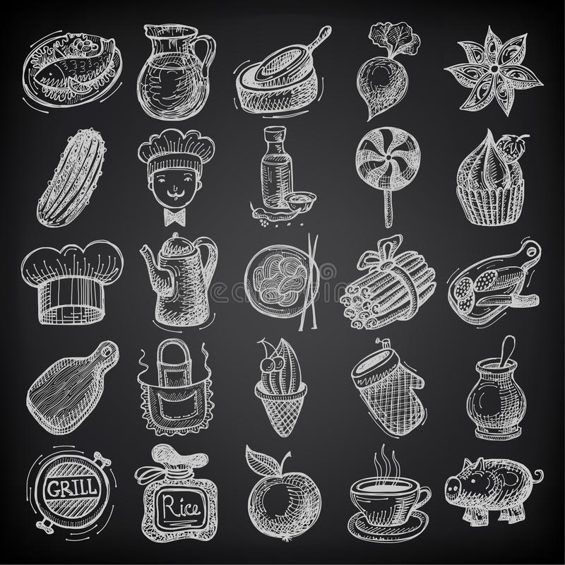 25 skissar klottersymbolsmat på svart bakgrund royaltyfri illustrationer