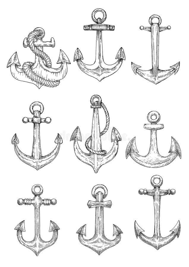 Skissar marin- ankaren för tappning med rep symboler vektor illustrationer