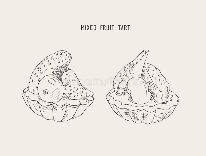 Skissar mini- syrligt för jordgubbe och för blåbär, vektorn vektor illustrationer