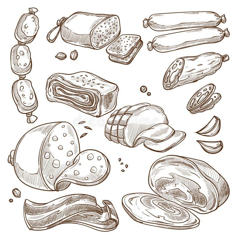Skissar monokrom sepia för köttprodukter och för korvar uppsättningen royaltyfri illustrationer