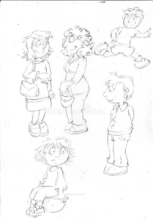 skissar, och blyertspennan skissar och klottrar humoristillus mödrarna och barnleken, skissar, och blyertspennan skissar och klot vektor illustrationer