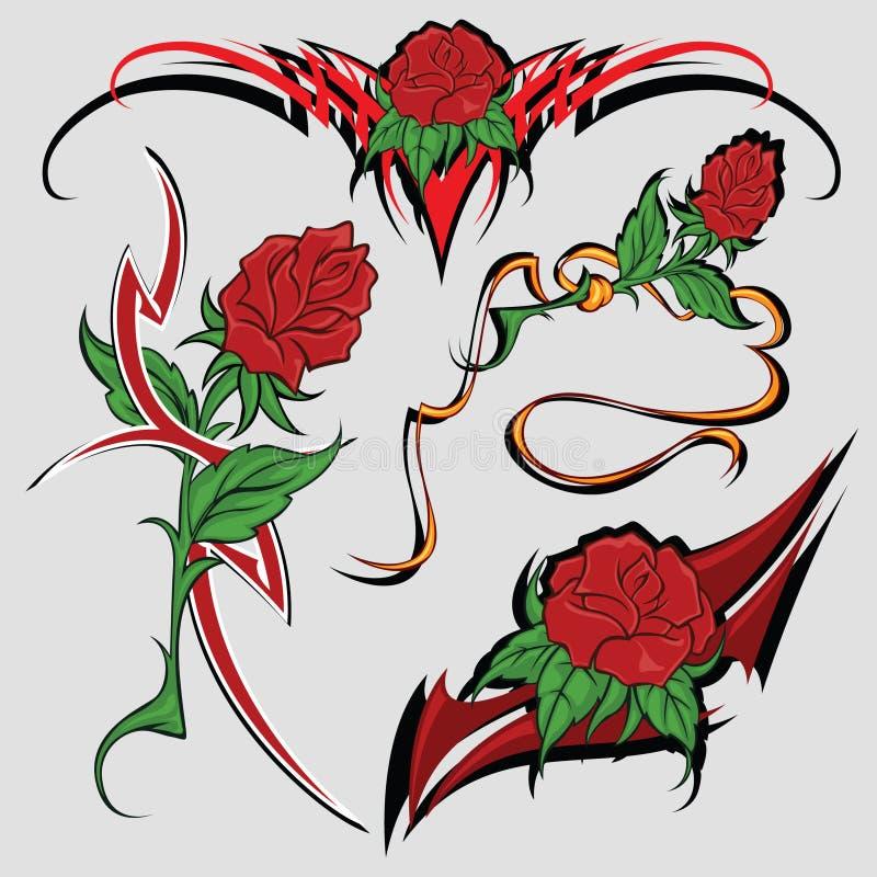 skissar tatueringen stock illustrationer