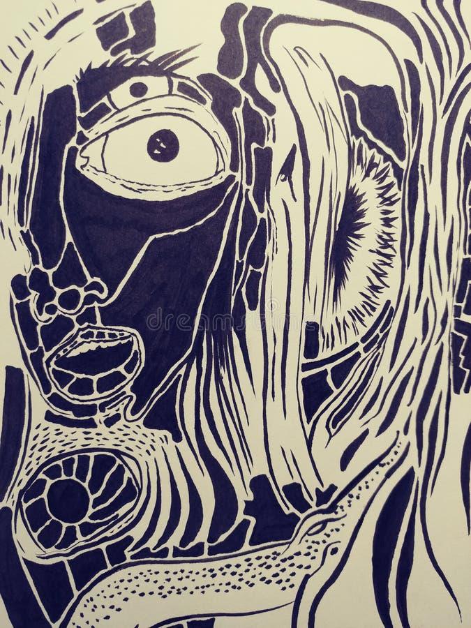 Skissar trippy psychadellic för teckningsillustration slumpmässig kall pics för konst royaltyfri illustrationer