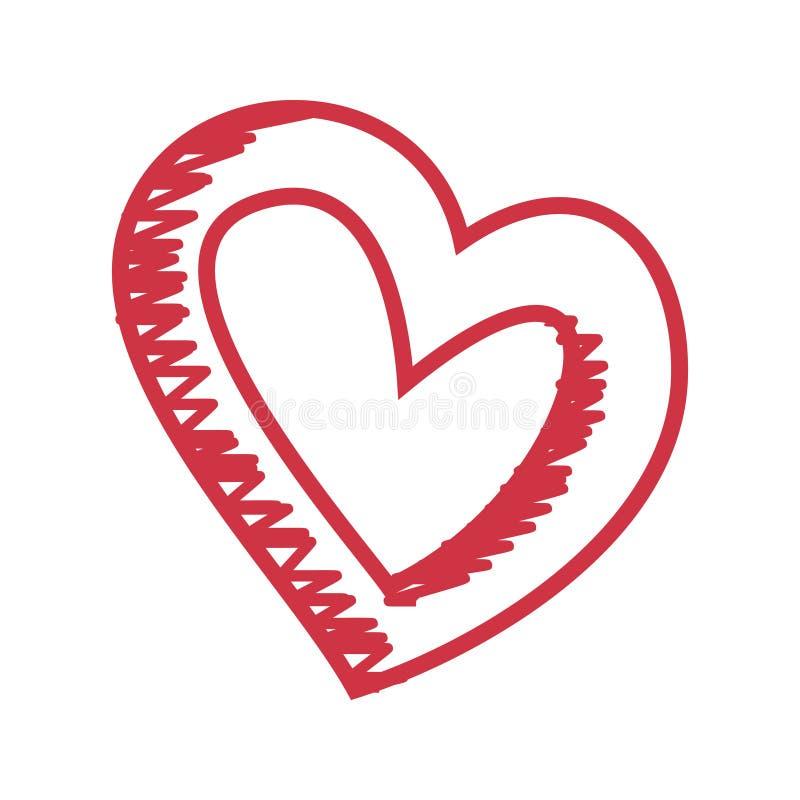 Skissar utdragen hjärta för hjärtamodellhanden isolerat på en vit bakgrund Vektorn skissar stilillustrationen vektor illustrationer