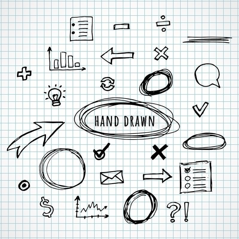 Skissar utdragna beståndsdelar för hand royaltyfri illustrationer