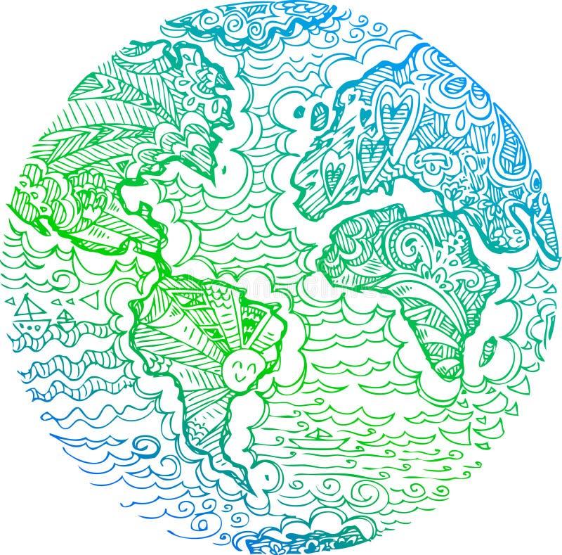 Skissat klotter för planetjord gräsplan vektor illustrationer