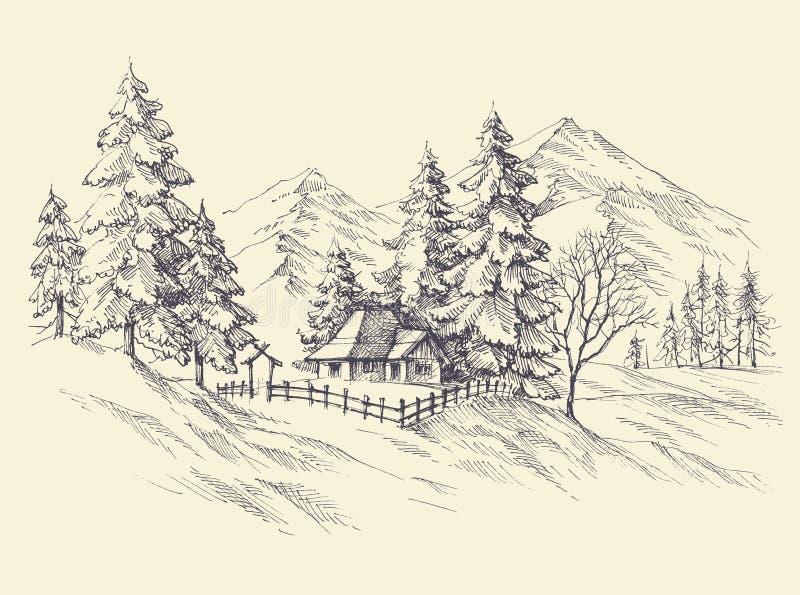 Skissat vinterlandskap stock illustrationer
