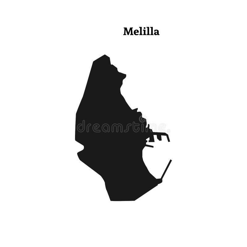 Skissera översikten av Melilla, spansk autonom stad på den norr coaen vektor illustrationer