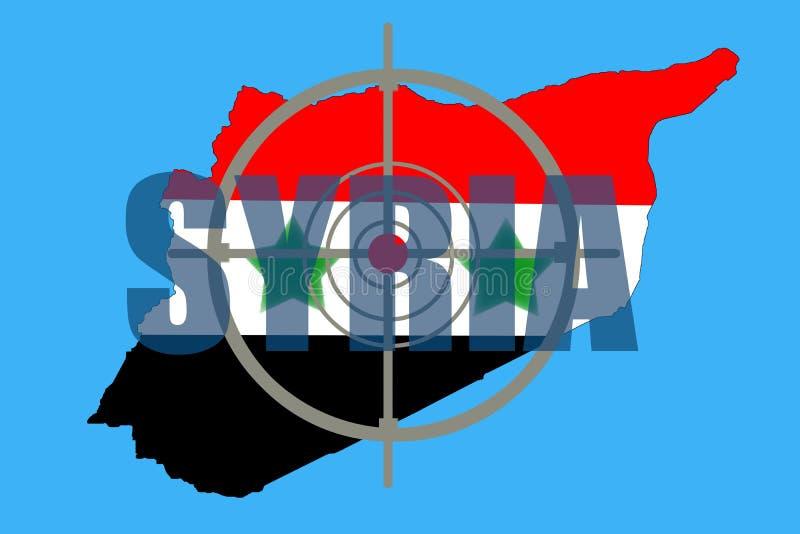 Skissera översikten av Syrien med flaggan och uppsätta som mål symbolet arkivbild