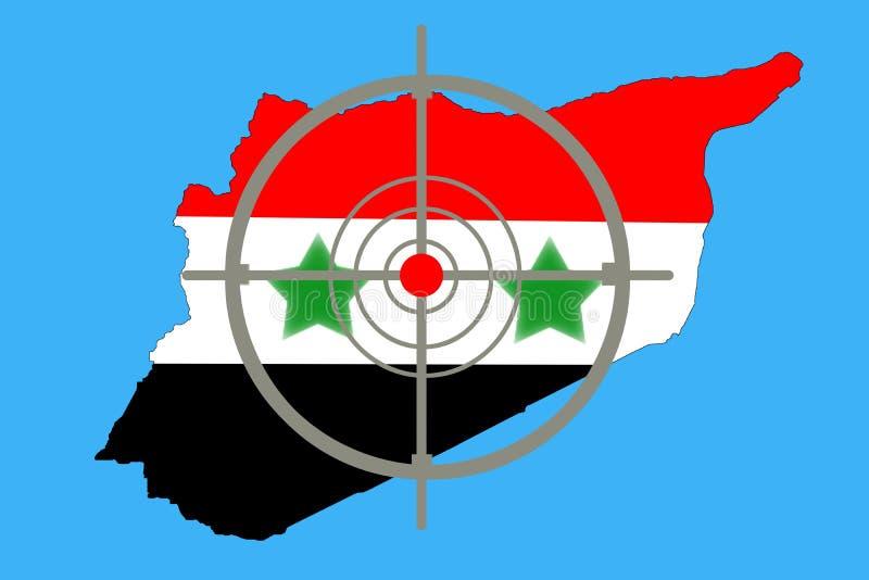 Skissera översikten av Syrien med flaggan och uppsätta som mål symbolet royaltyfria foton