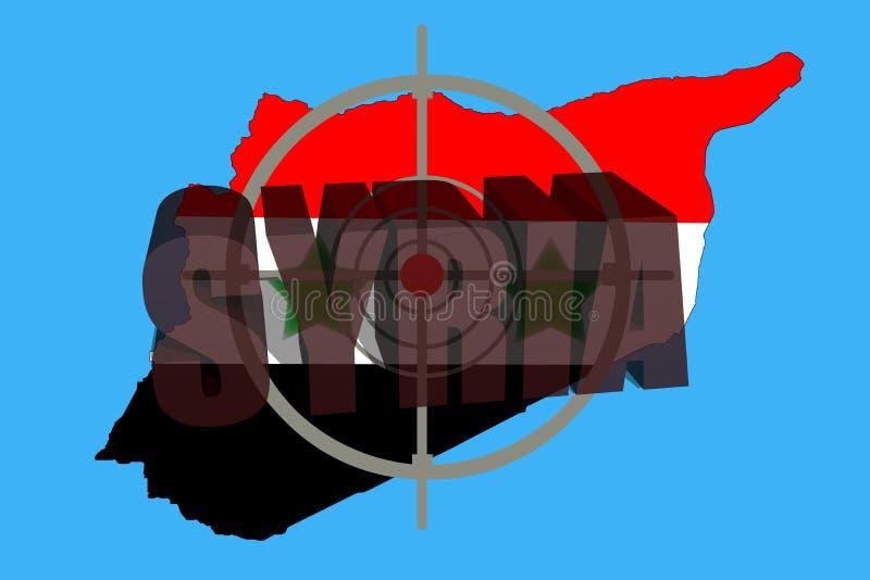 Skissera översikten av Syrien med flaggan och uppsätta som mål symbolet arkivfoton