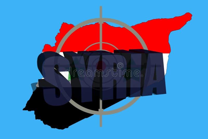 Skissera översikten av Syrien med flaggan och uppsätta som mål symbolet royaltyfria bilder