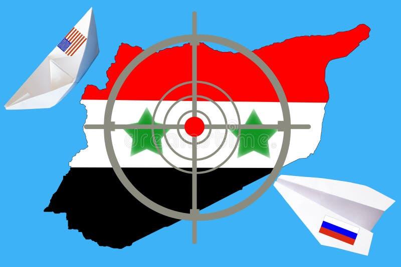 Skissera översikten av Syrien med flaggan och uppsätta som mål symbolet royaltyfri foto