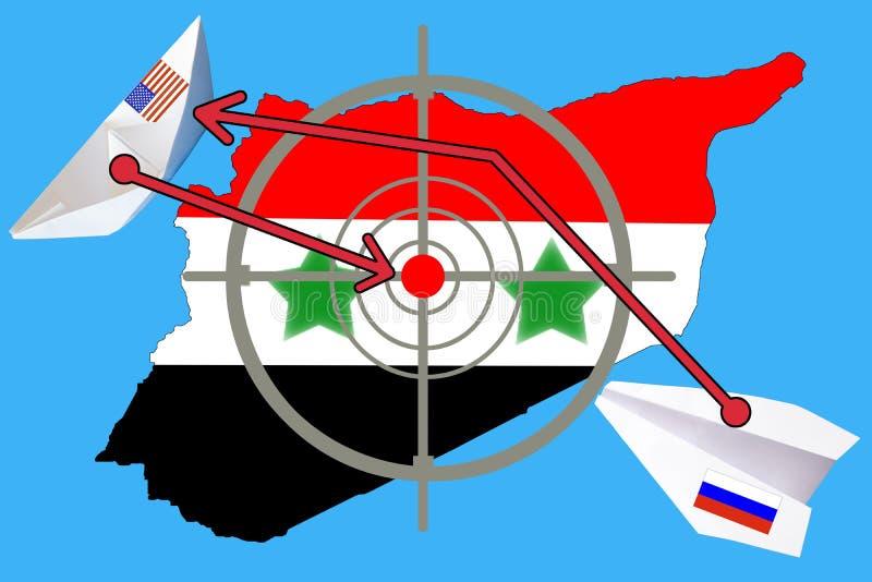 Skissera översikten av Syrien med flaggan och uppsätta som mål symbolet fotografering för bildbyråer