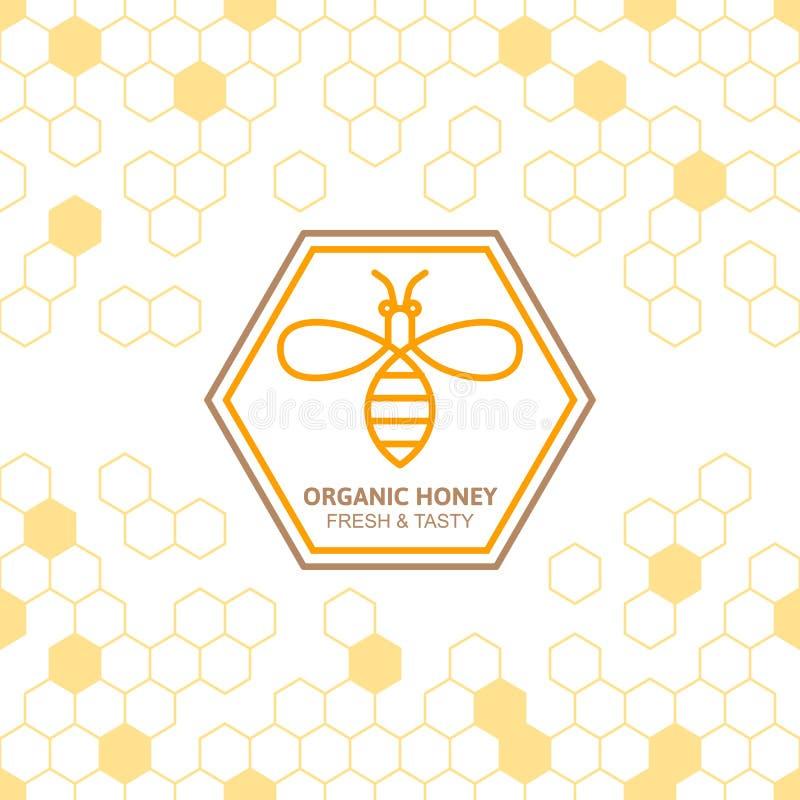 Skissera bivektorsymbolet och sömlös bakgrund med honungskakor royaltyfri illustrationer