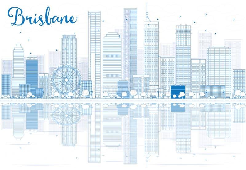 Skissera Brisbane horisont med blåa byggnader och reflexioner stock illustrationer