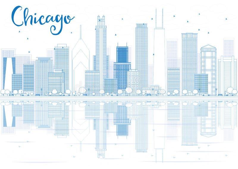 Skissera Chicago horisont med blåa byggnader och reflexioner royaltyfri illustrationer