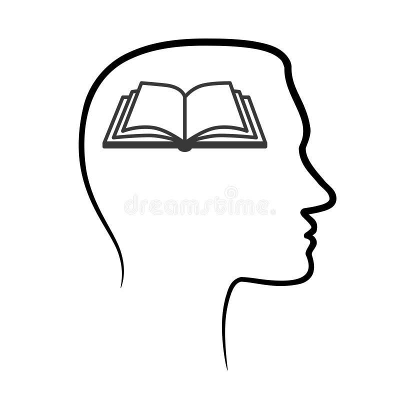 Skissera designsymbolen med det mänskliga huvudet, hjärna och öppna boken Abstra stock illustrationer