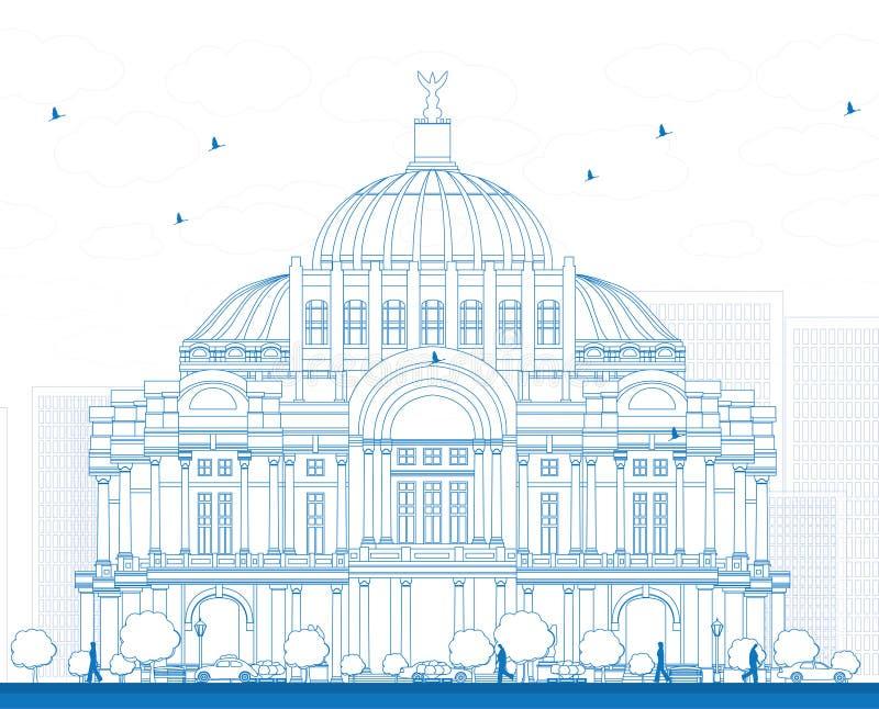 Skissera konstslotten/Palacioen de Bellas Artes i Mexico C royaltyfri illustrationer