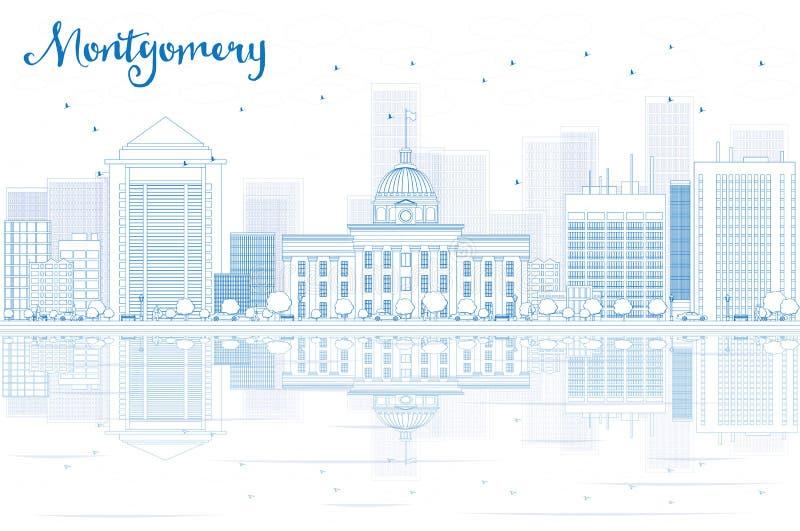 Skissera Montgomery horisont med blåa byggnader och reflexioner royaltyfri illustrationer