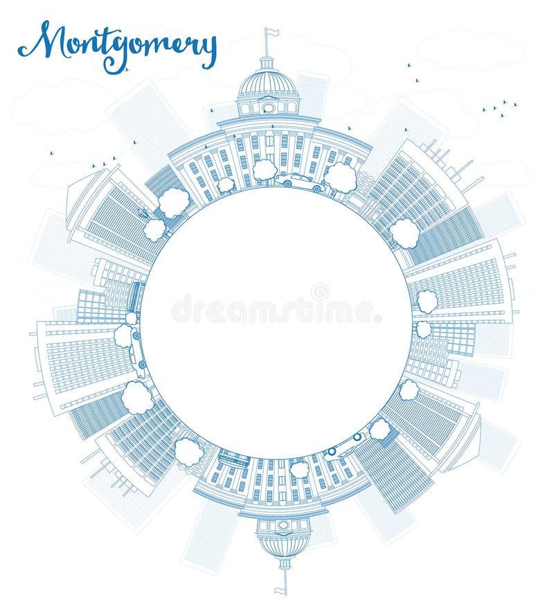 Skissera Montgomery Skyline med blå byggnad och kopiera utrymme royaltyfri illustrationer