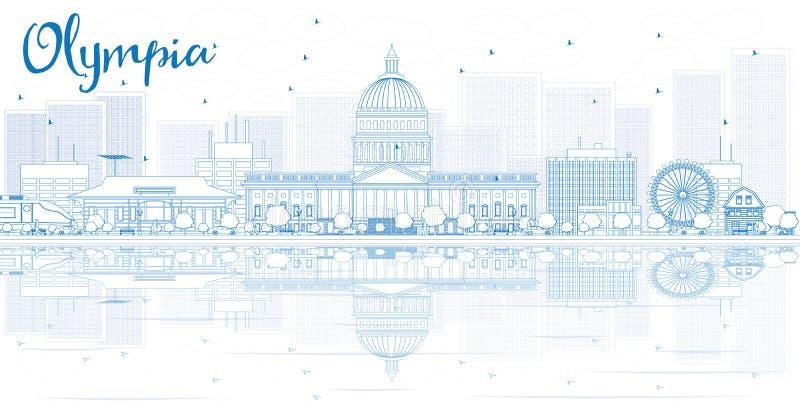 Skissera Olympia horisont med blåa byggnader och reflexioner vektor illustrationer