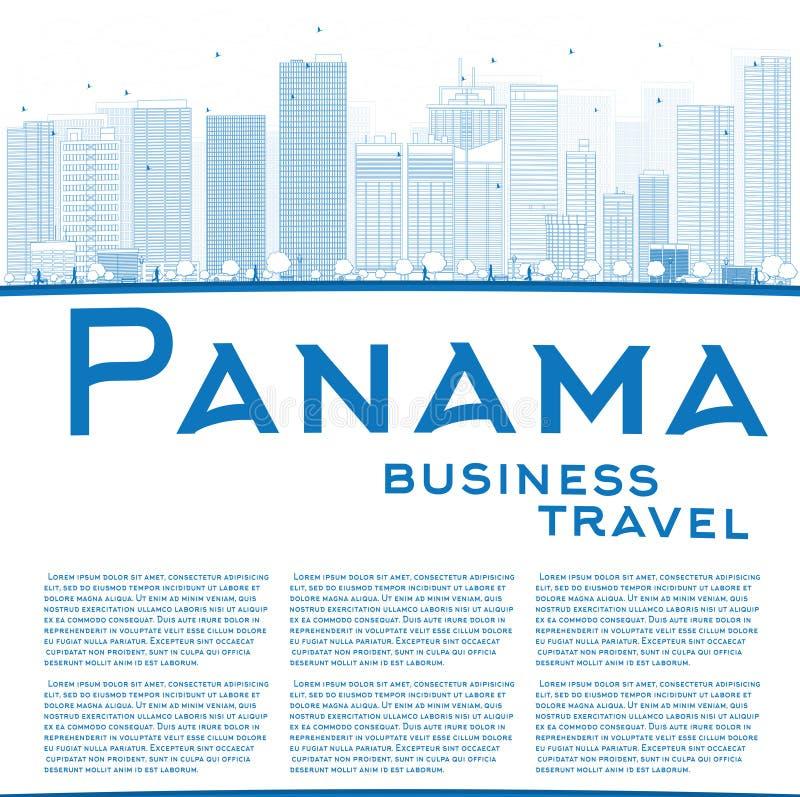 Skissera Panama City horisont med blåa skyskrapor och kopiera utrymme royaltyfri illustrationer