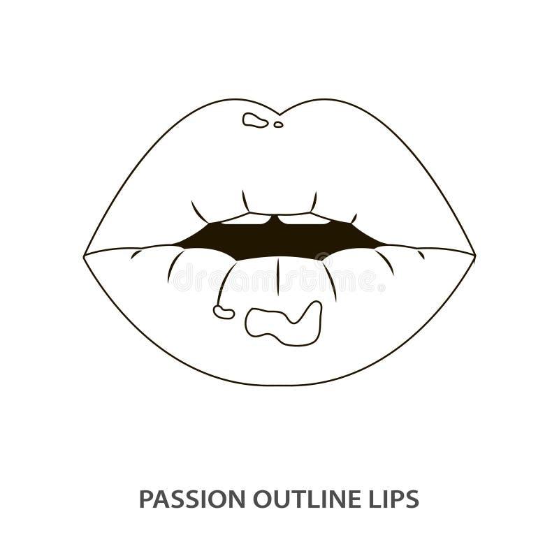 Skissera sexiga passionkanter, läppstift som är erotisk öppnar munnen royaltyfri illustrationer
