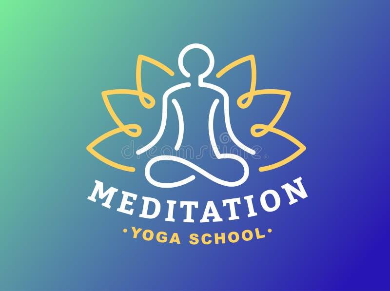 Skissera yogalogoen - vektorillustrationen, emblem på lutningbakgrund royaltyfri illustrationer