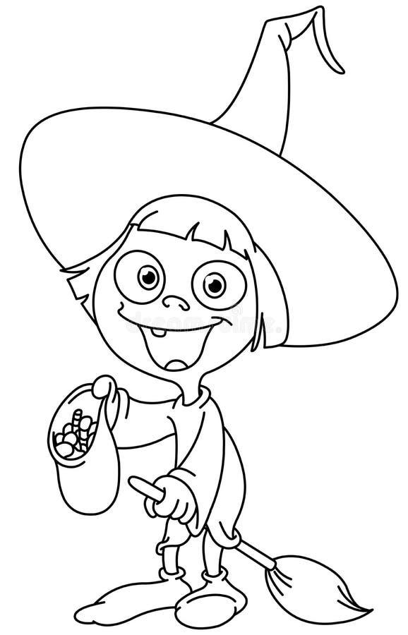 Skisserad häxaunge royaltyfri illustrationer