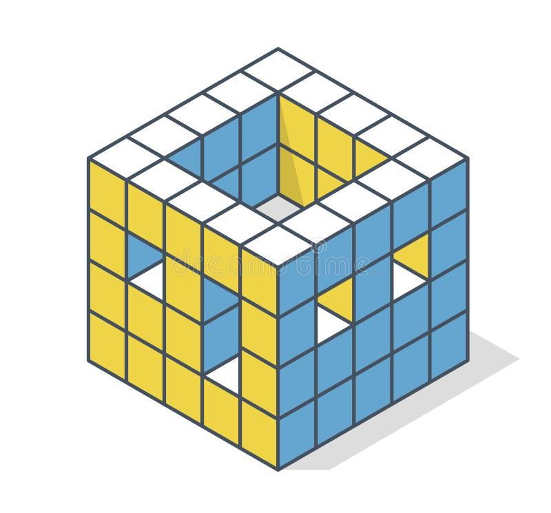 Skisserad minimalistic kvarterform som byggnad Vektorkubform som frammanar den grova konstruktionen av huset vektor illustrationer