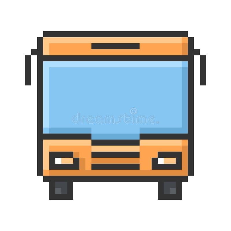 Skisserad PIXELsymbol av bussen royaltyfri illustrationer