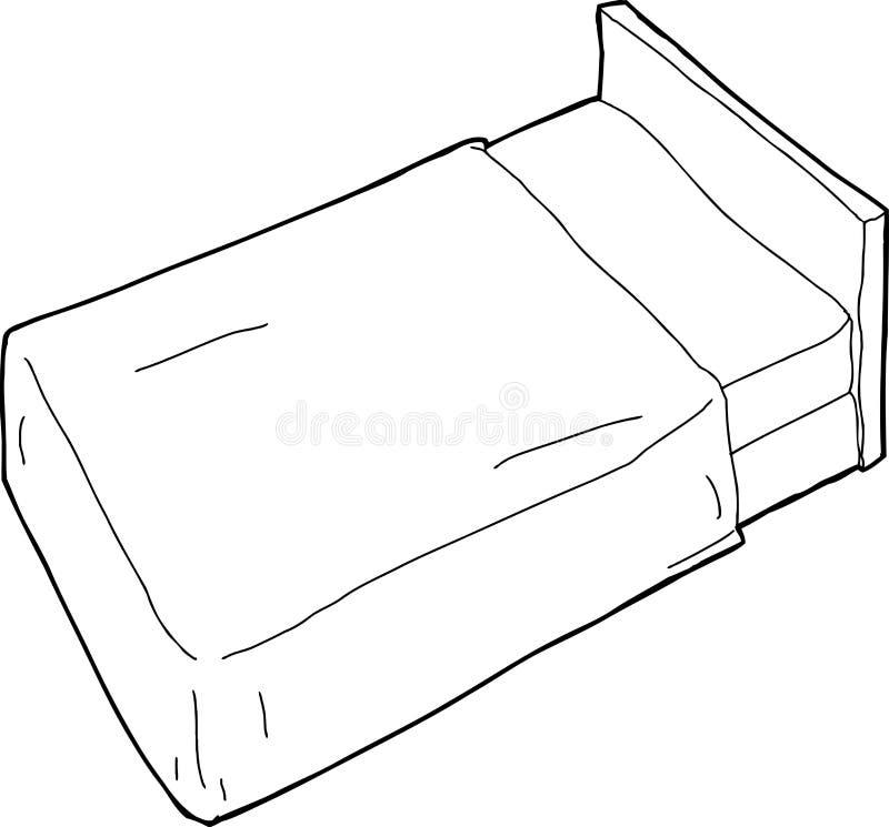 Skisserad säng och huvudgavel stock illustrationer