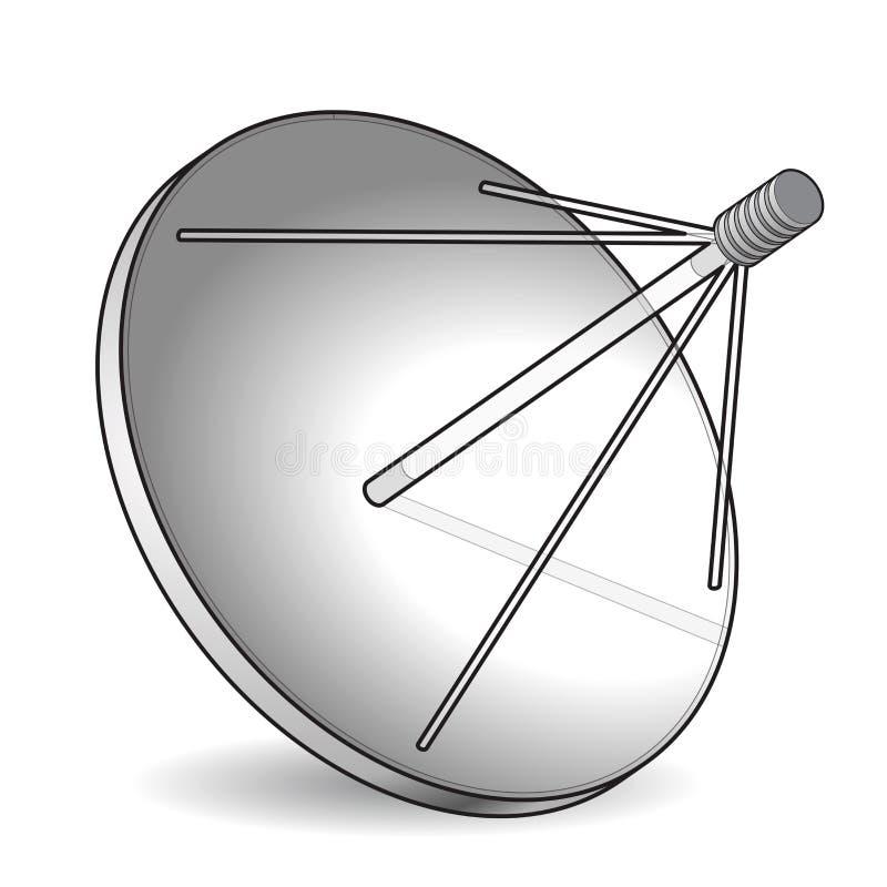 Skisserad satellit- maträtt för vektor i det isometriska perspektivet som isoleras på vit bakgrund Överföringsantenn, kommunikati stock illustrationer