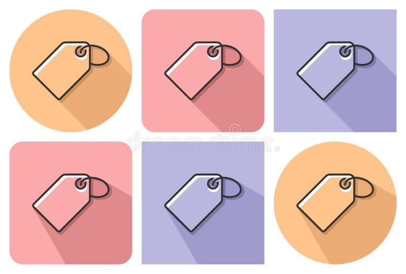 Skisserad symbol av etiketten vektor illustrationer