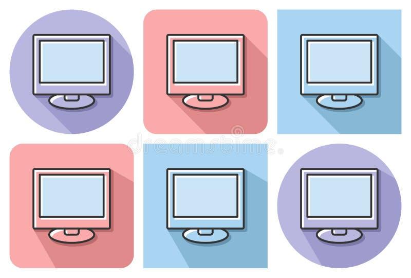 Skisserad symbol av LCD vektor illustrationer
