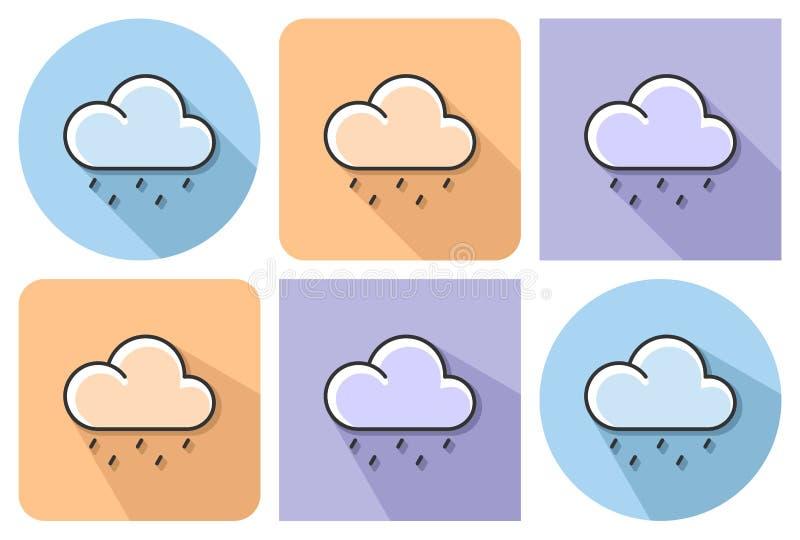 Skisserad symbol av ljust regnigt väder vektor illustrationer