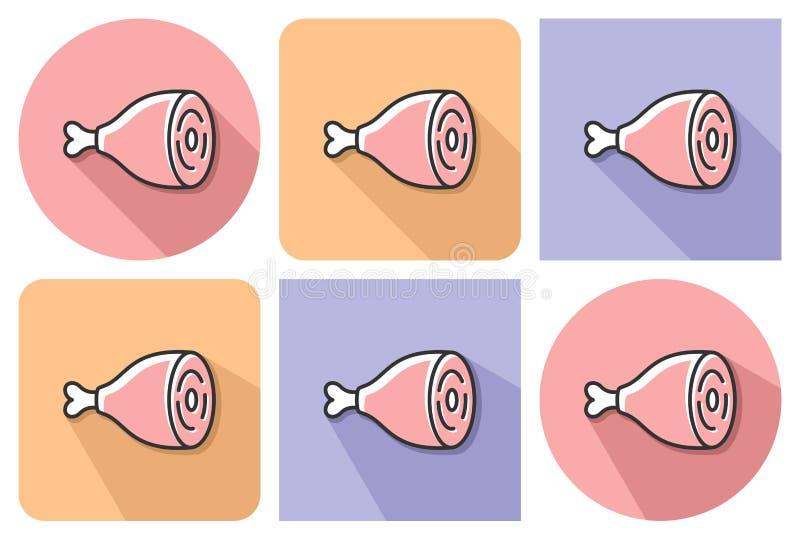 Skisserad symbol av skinka stock illustrationer