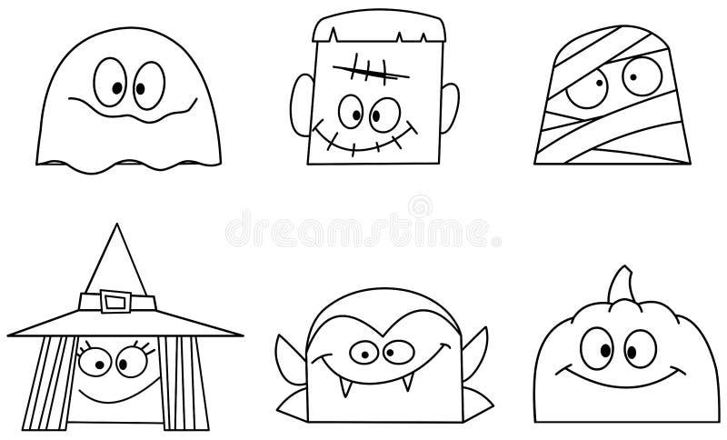 Skisserade halloween vänder mot stock illustrationer